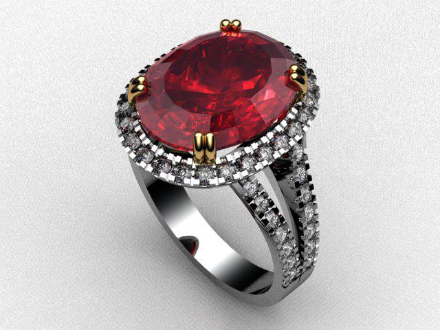 Oval Ruby Halo Split Shank Ring