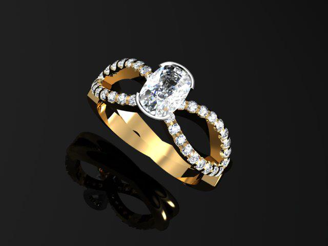 Oval Diamond cross over ring