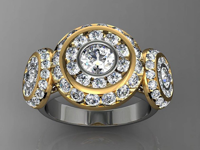 Trinity Halo Ring in yellow gold